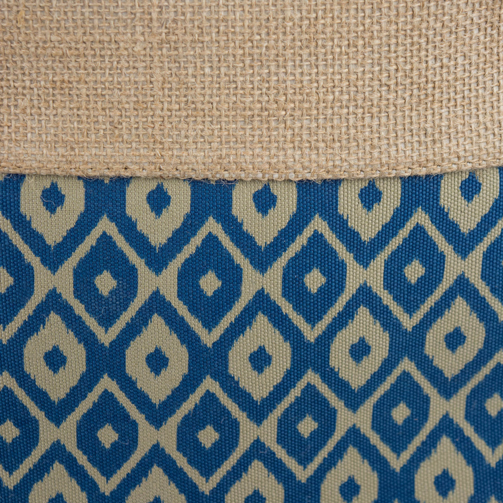 DII Burlap Bin Ikat Blue Rectangle Small