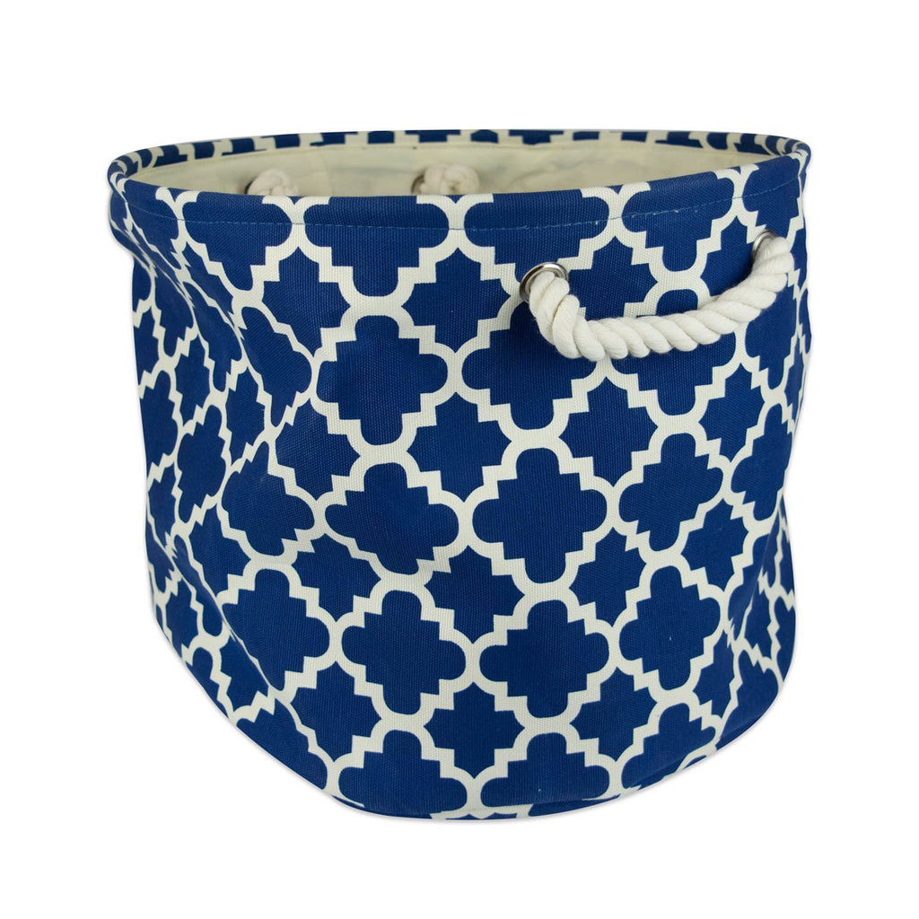 Polyester Bin Lattice Navy Round Small 9x12x12