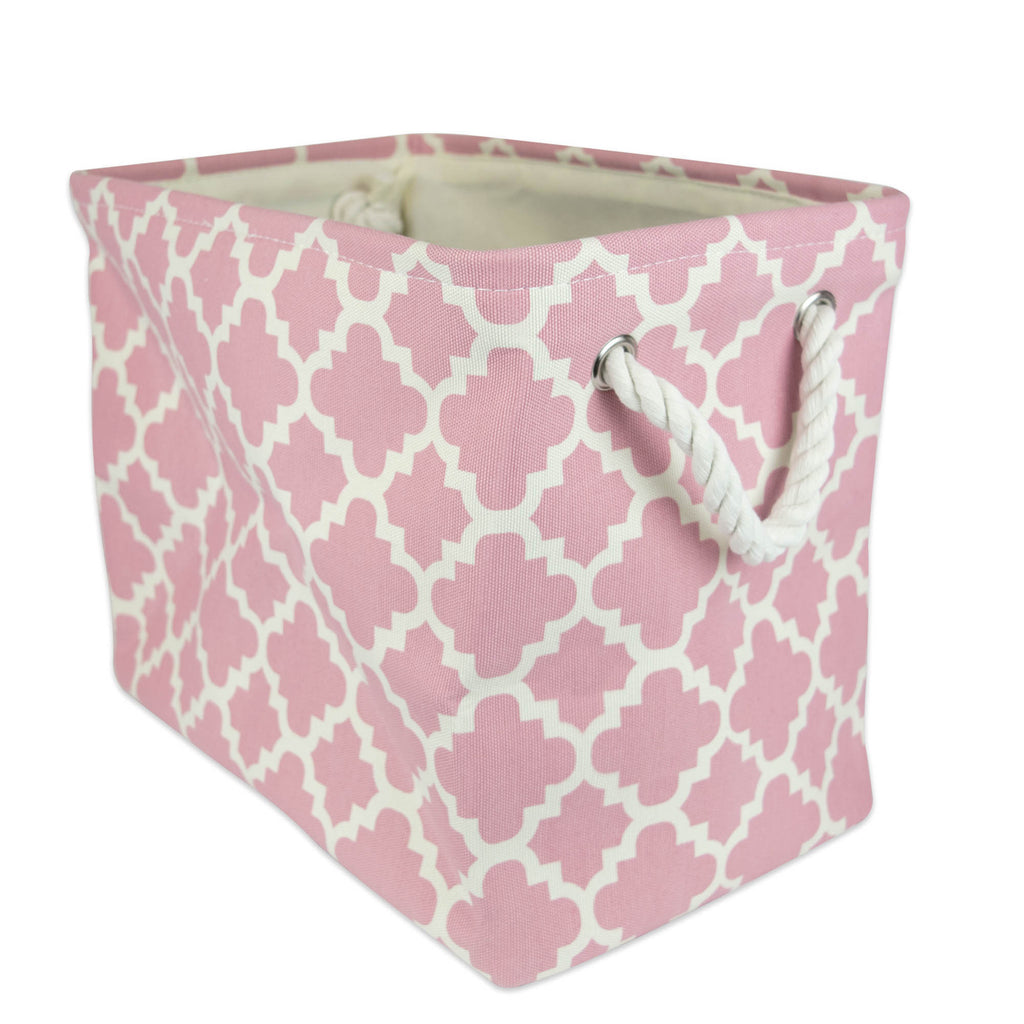 Polyester Bin Lattice Rose Rectangle Small 14x8x9