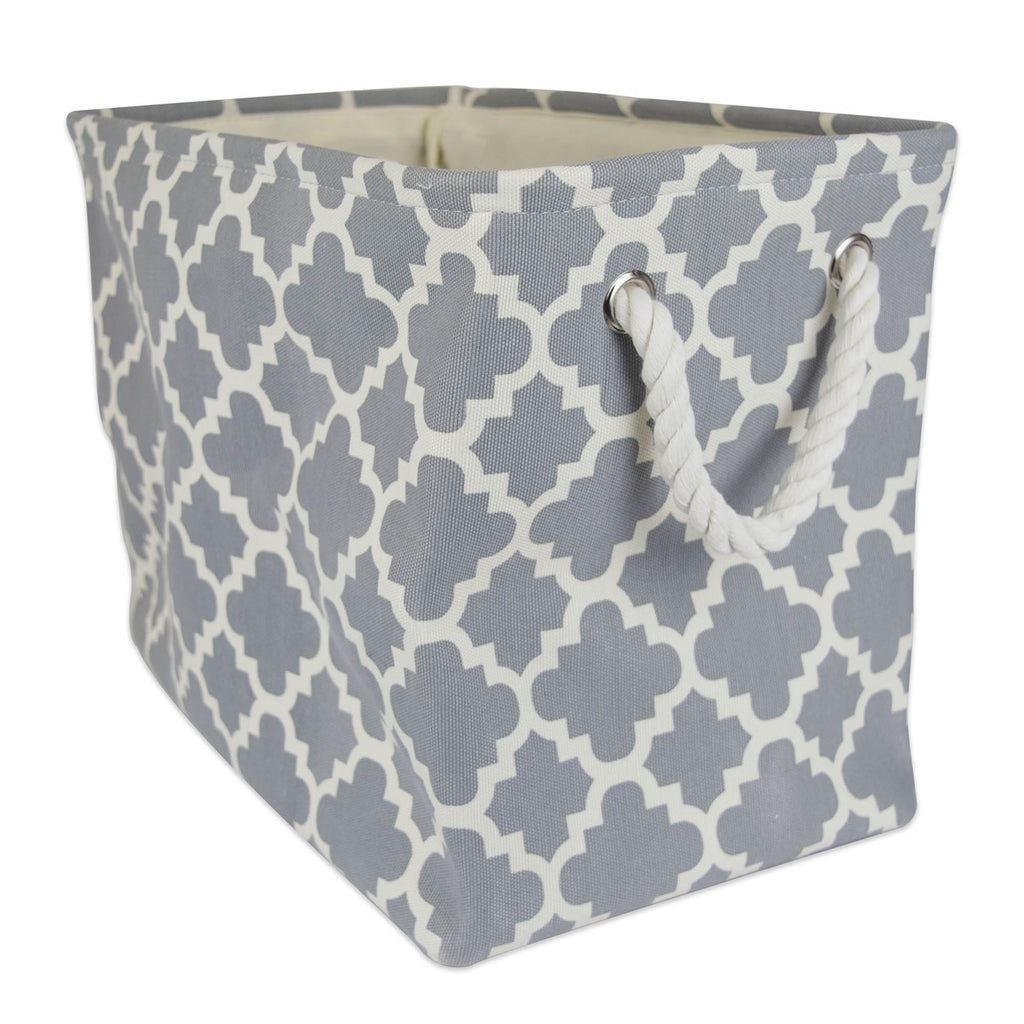 Polyester Bin Lattice Gray Rectangle Small 14x8x9