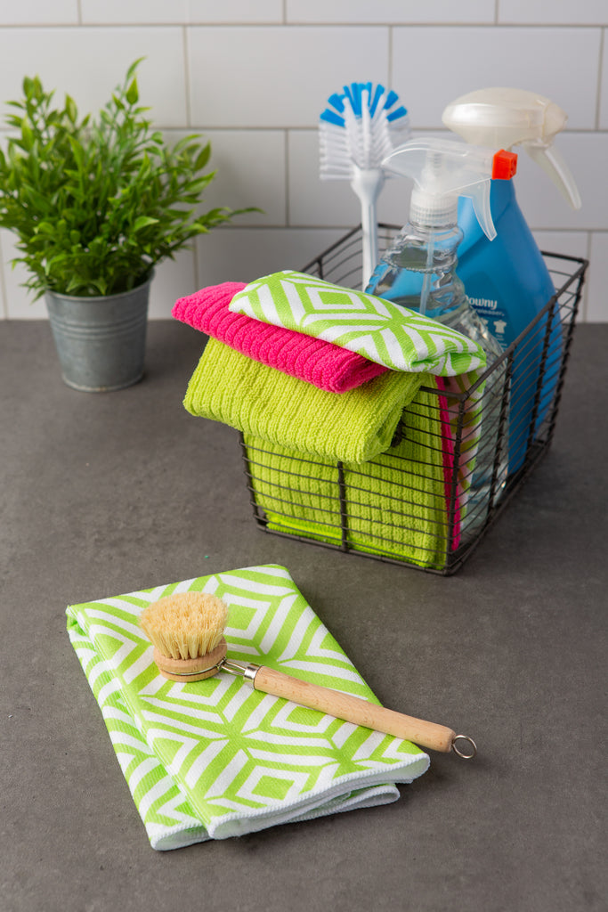 DII Microfiber Diamond Dishtowel Green(Set of 4)