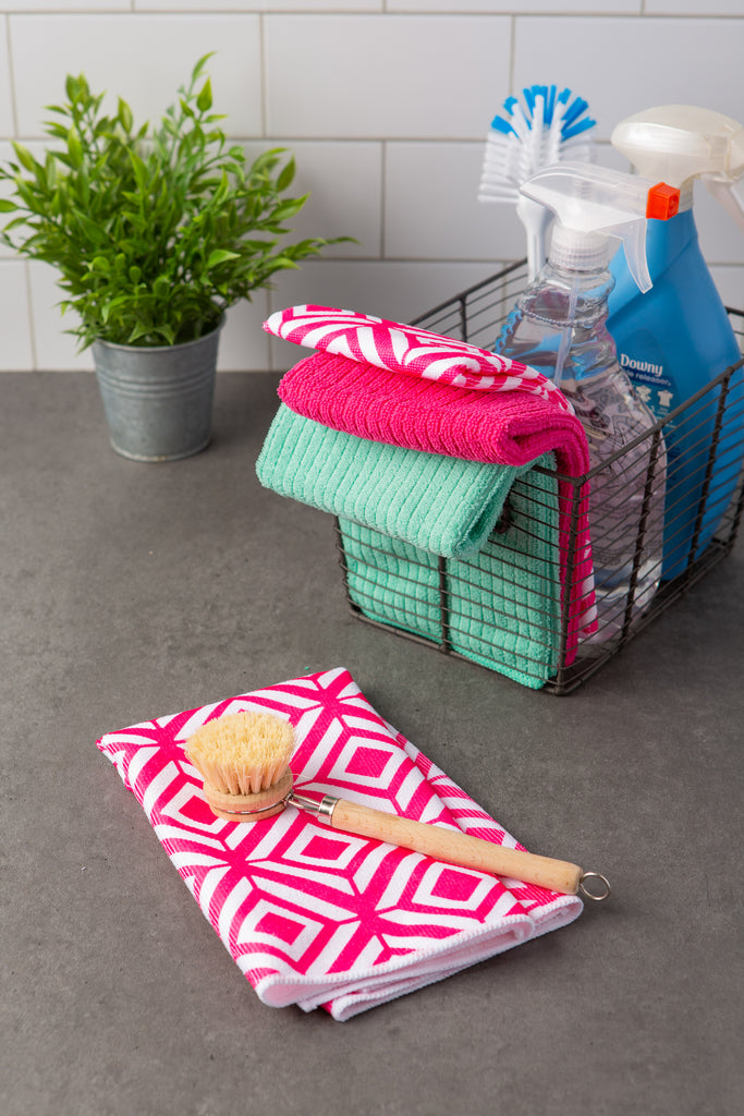 DII Microfiber Diamond Dishtowel Pink(Set of 4)