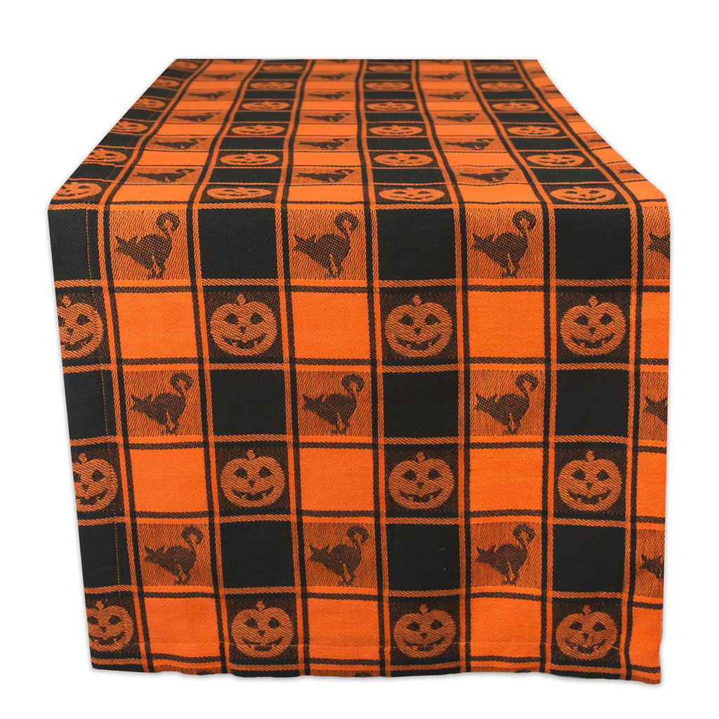 Halloween Woven Check Table Runner 14x72