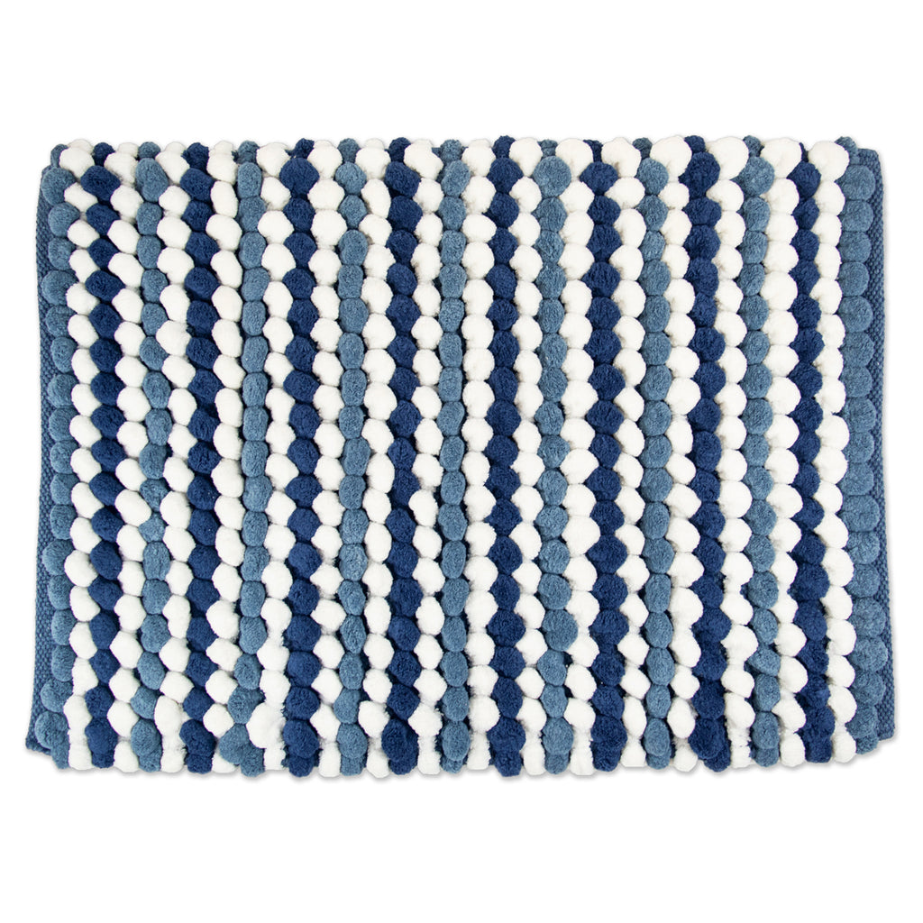 Blue Striped Microfiber Bath Mat 21x34