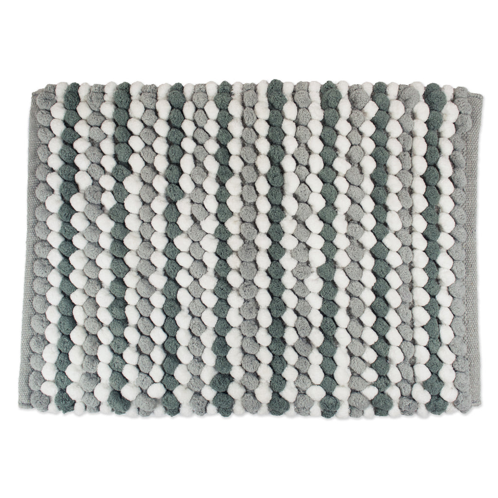 Gray Striped Microfiber Bath Mat 21x35
