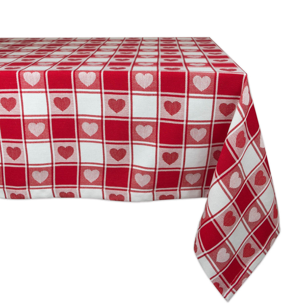 Hearts Woven Check Tablecloth 52x52