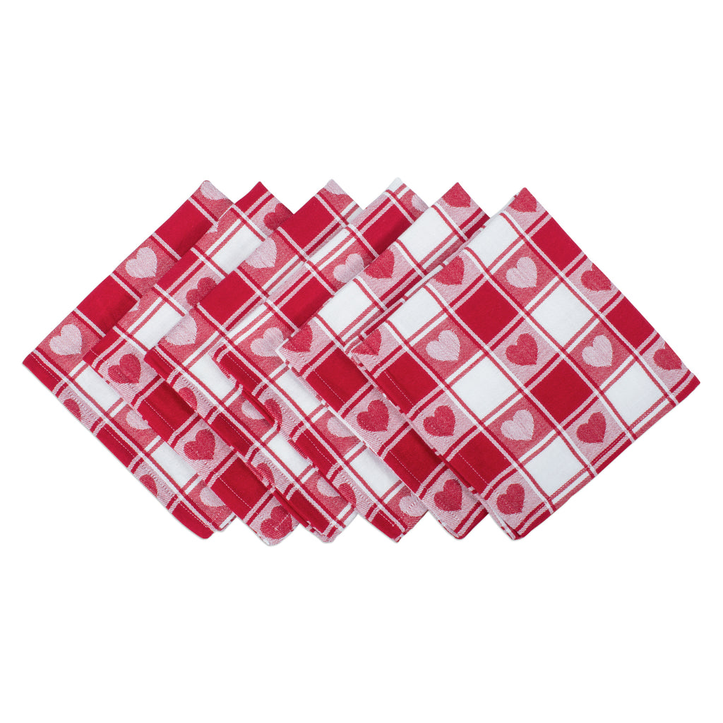 Hearts Woven Check Napkin Set/6
