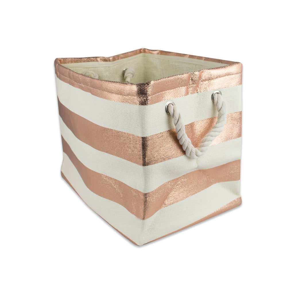 Paper Bin Stripe Copper Rectangle Medium 15x10x12