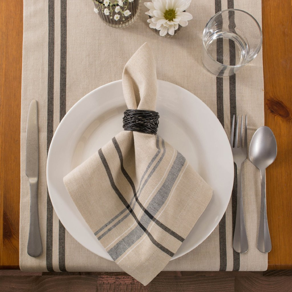French Stripe Table Runner - Black, 14x108""