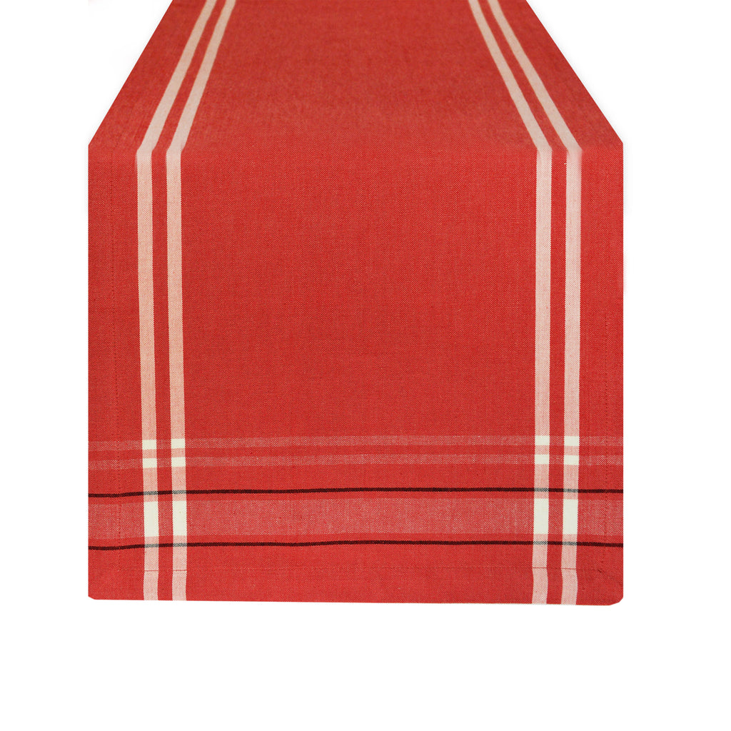 Chambray French Stripe Table Runner - Red