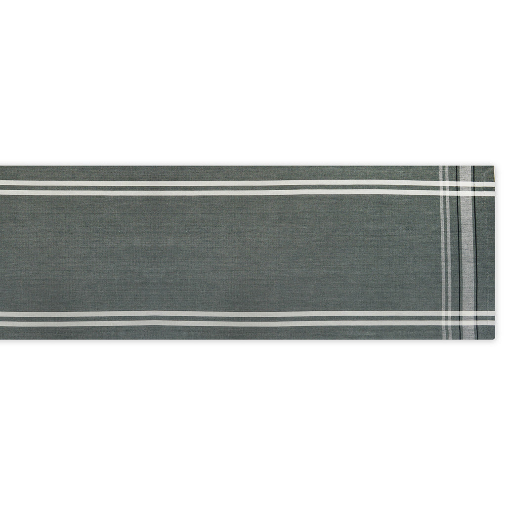 Chambray French Stripe Table Runner - Gray