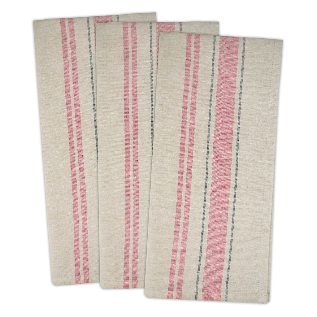 Red French Stripe Woven Dishtowel Set/3
