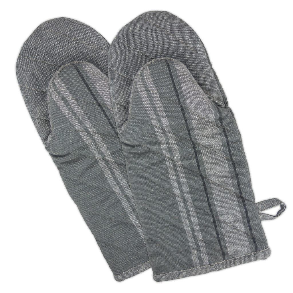 Gray Chambray French Stripe Oven Mitt Set/2