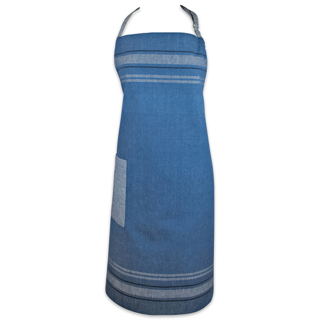 Blue Chambray French Stripe Chef Apron