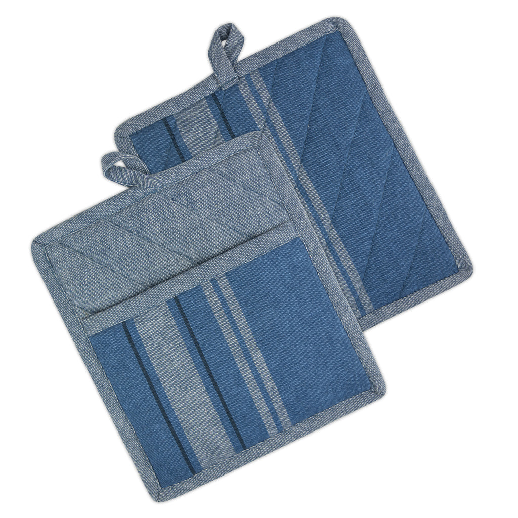 Blue Chambray French Stripe Potholder Set/2