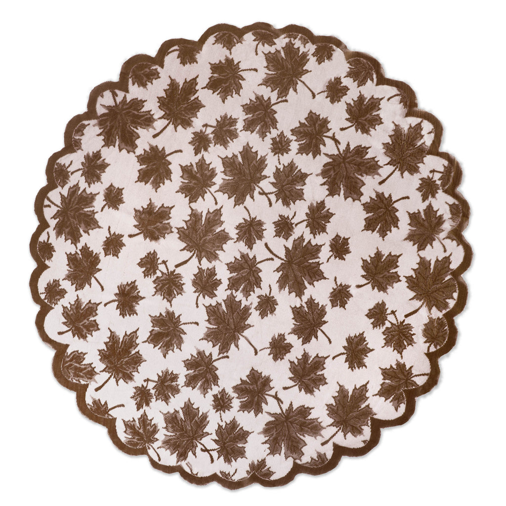 Brown Maple Leaf Lace Round Table Topper