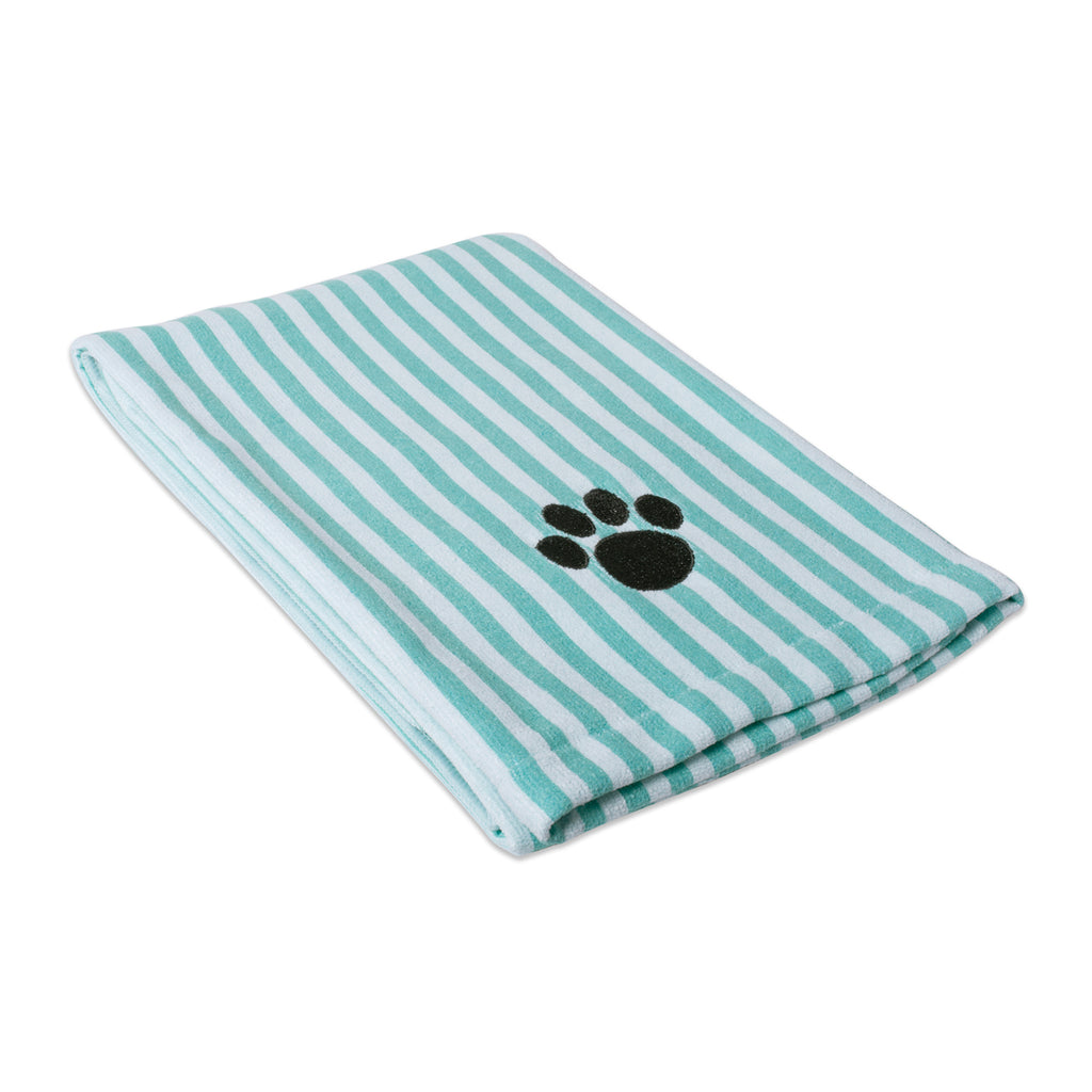 Aqua Stripe Embroidered Paw Pet Towel
