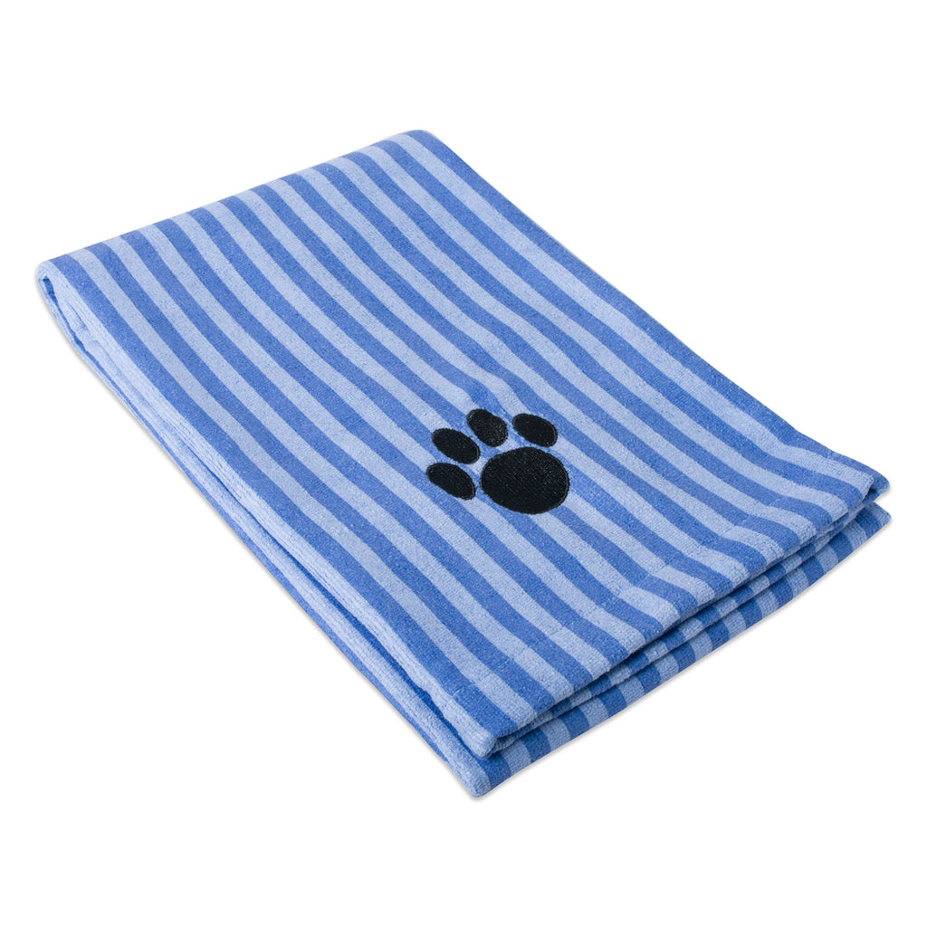 Blue Stripe Embroidered Paw Pet Towel