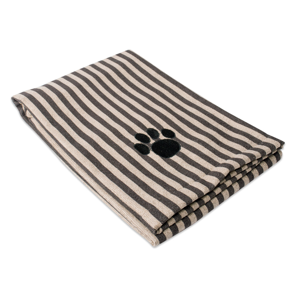 Brown Stripe Embroidered Paw Pet Towel