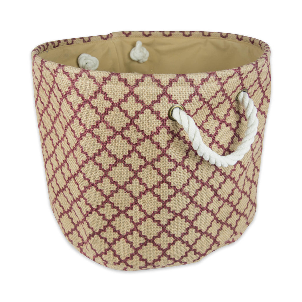 Burlap Bin Lattice Wine Round Small 9x12x12