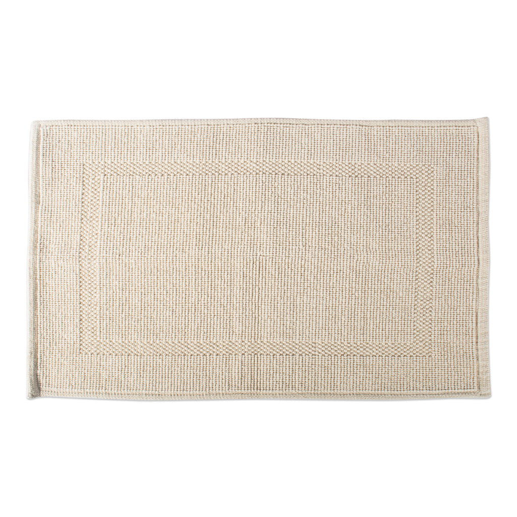 Natural Jacquard Bordered Bath Mat