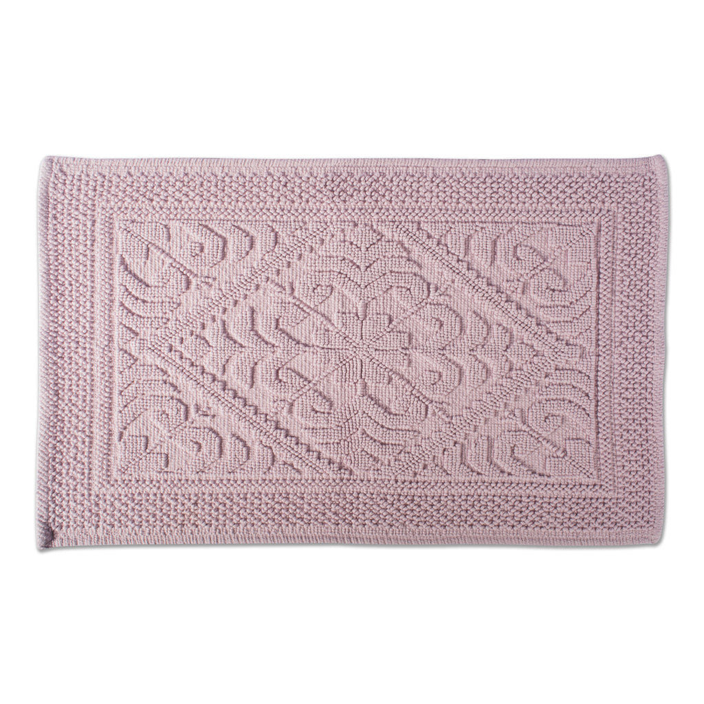 Damask Mauve Jacquard Bordered Bath Mat