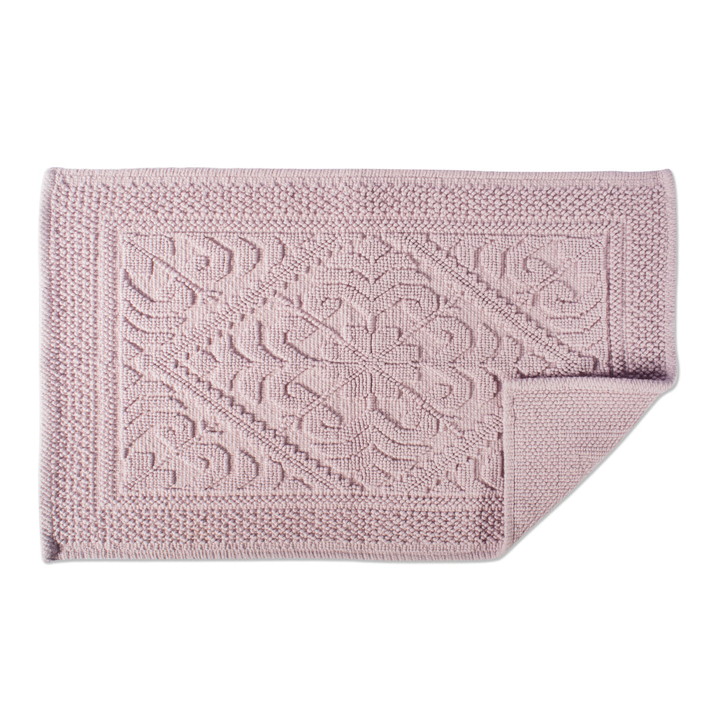 DII Damask Mauve Jacquard Bordered Bath Mat