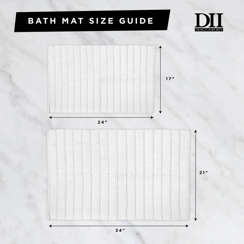 DII Damask Natural Jacquard Bordered Bath Mat