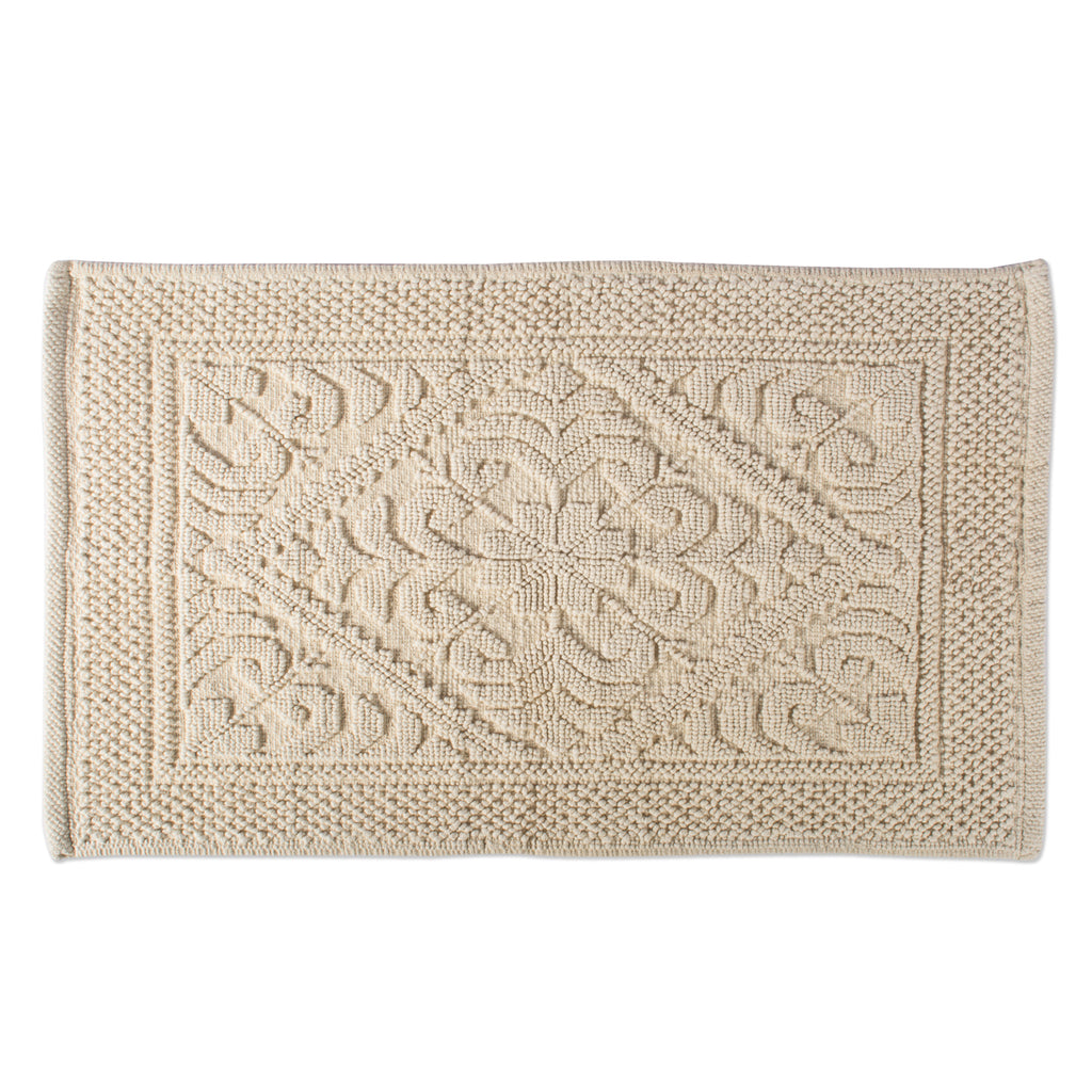 Damask Natural Jacquard Bordered Bath Mat