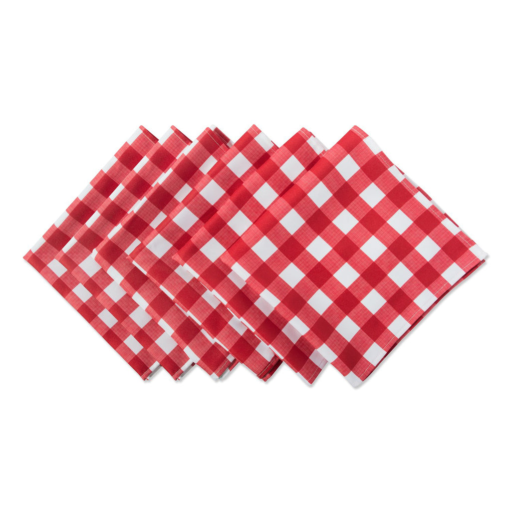 Red Check Outdoor Napkin Set/6