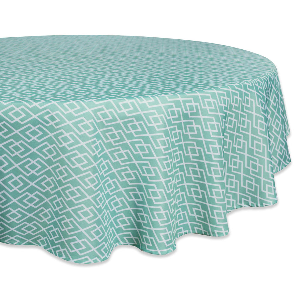 Aqua Diamond Outdoor Tablecloth 60 Round