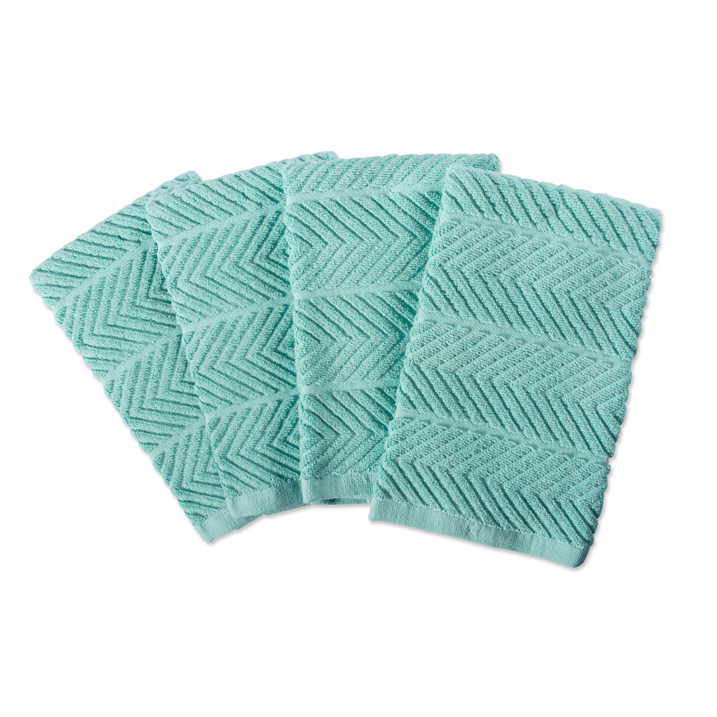 Aqua Chevron Luxury Barmop Set/4