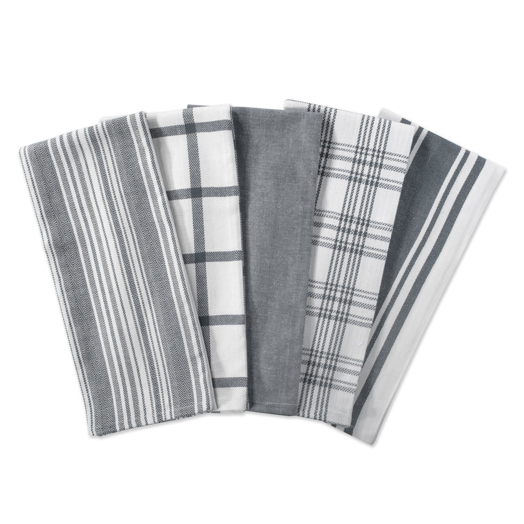 DII Assorted Gray Woven Dishtowels (Set of 5)