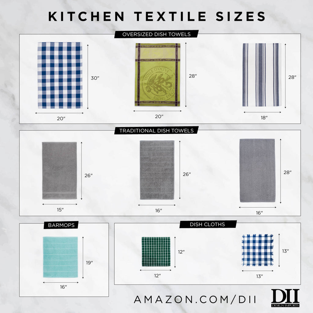 DII Assorted Stone Blue Woven Dishtowel (Set of 5)