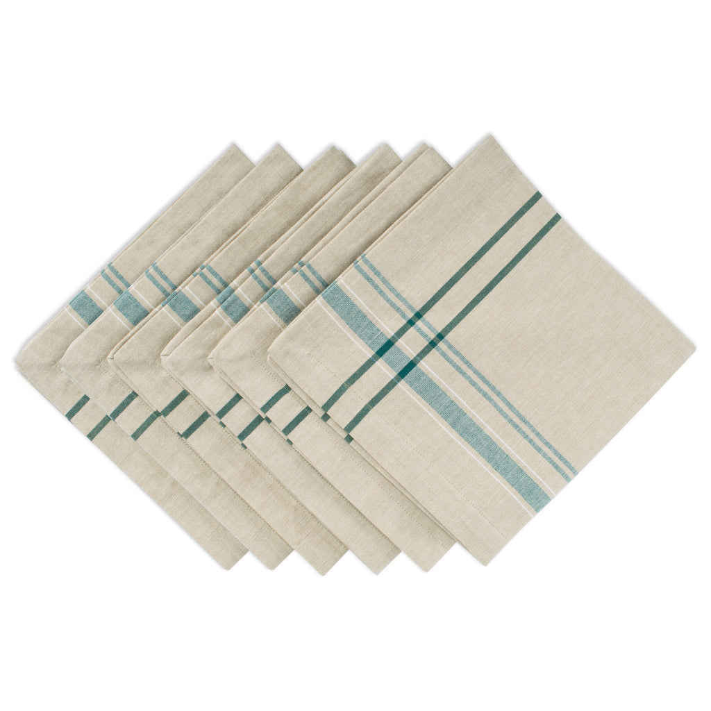 Teal French Stripe Napkin Set/6