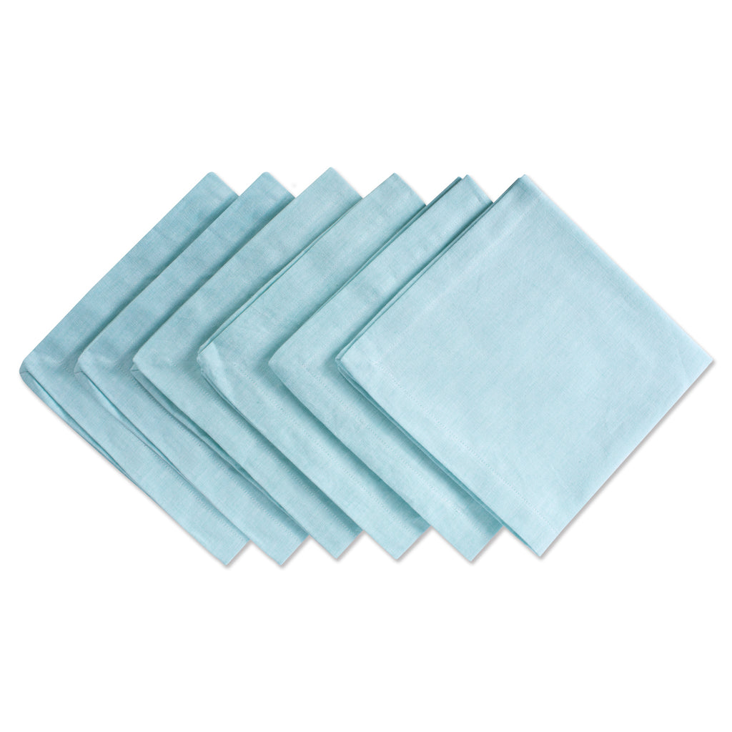 Aqua Solid Chambray Napkin Set/6