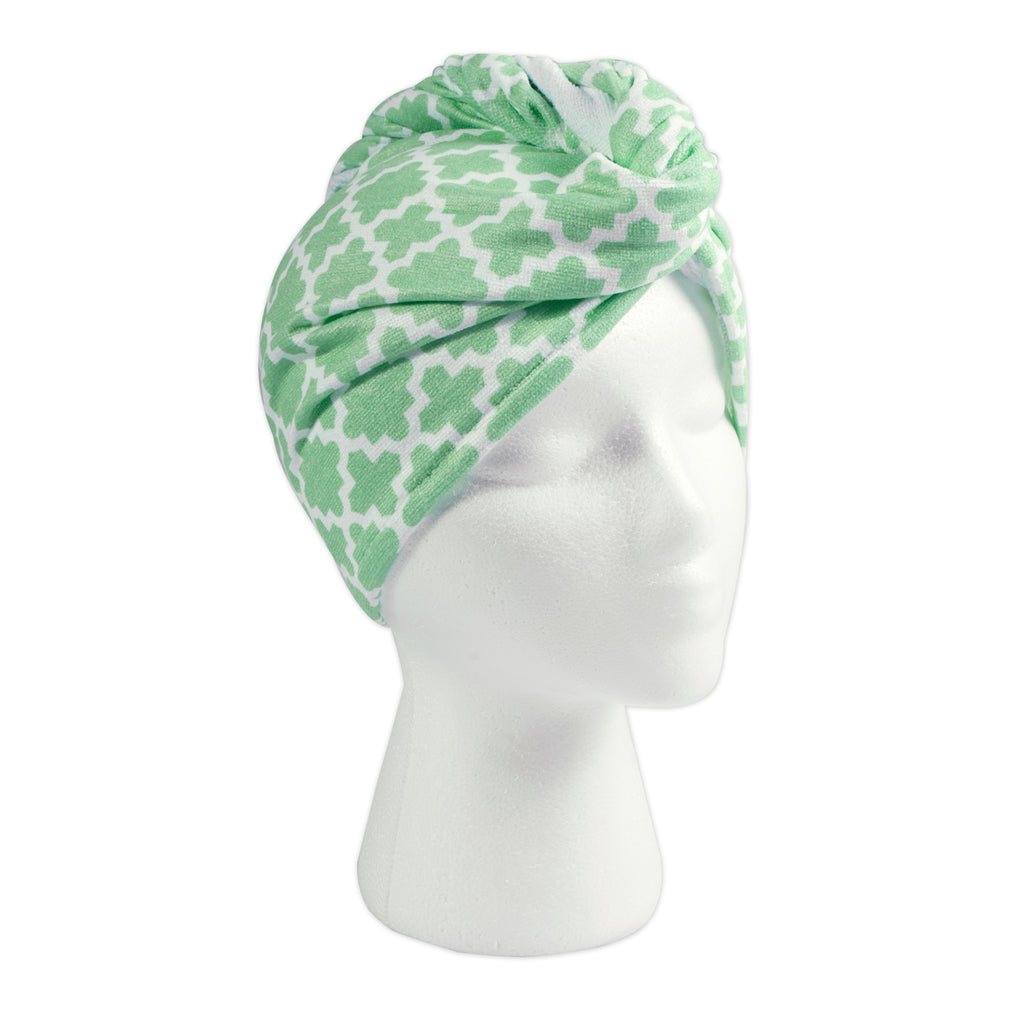 Hair Wrap Aqua Lattice Print  Set/3