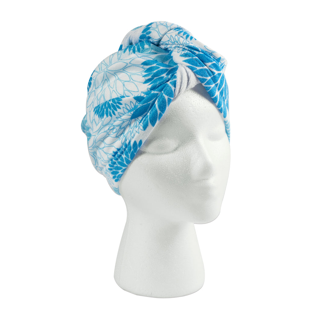 Hair Wrap Blue Dahlia Print Set/3