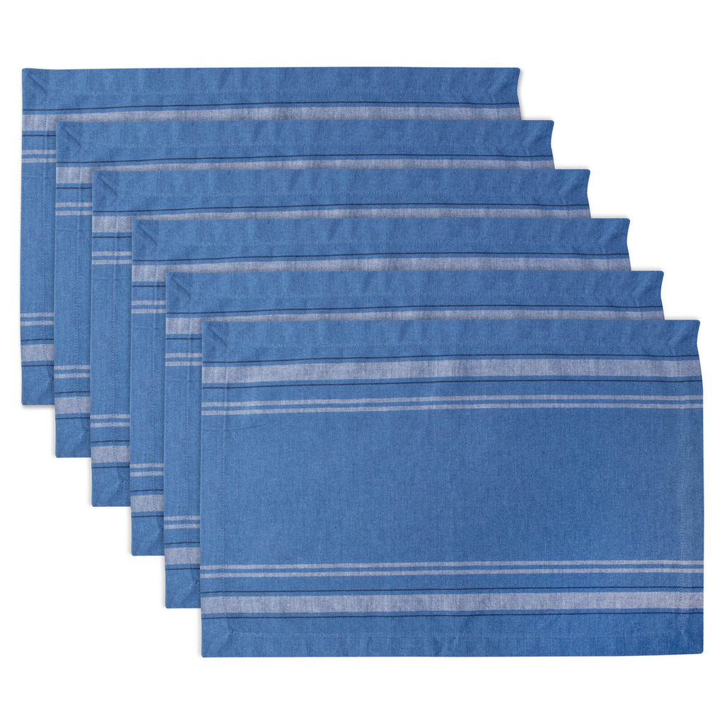 Blue Chambray French Stripe Placemat Set/6