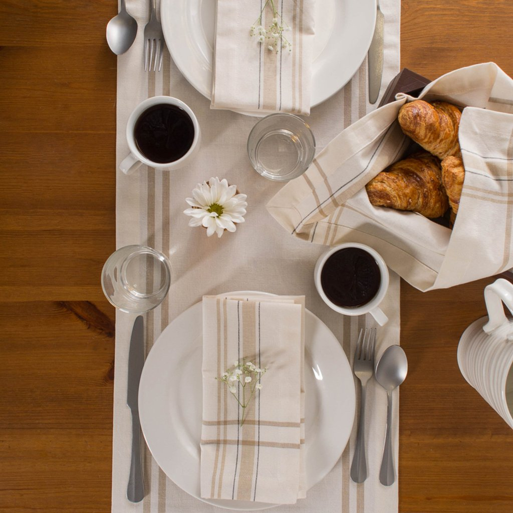 Chambray French Stripe Table Runner - White