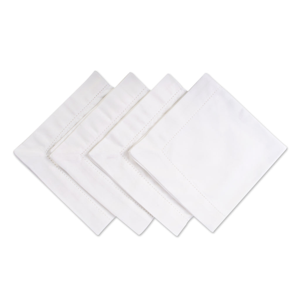 Off White Hemstitch Napkin Set/4