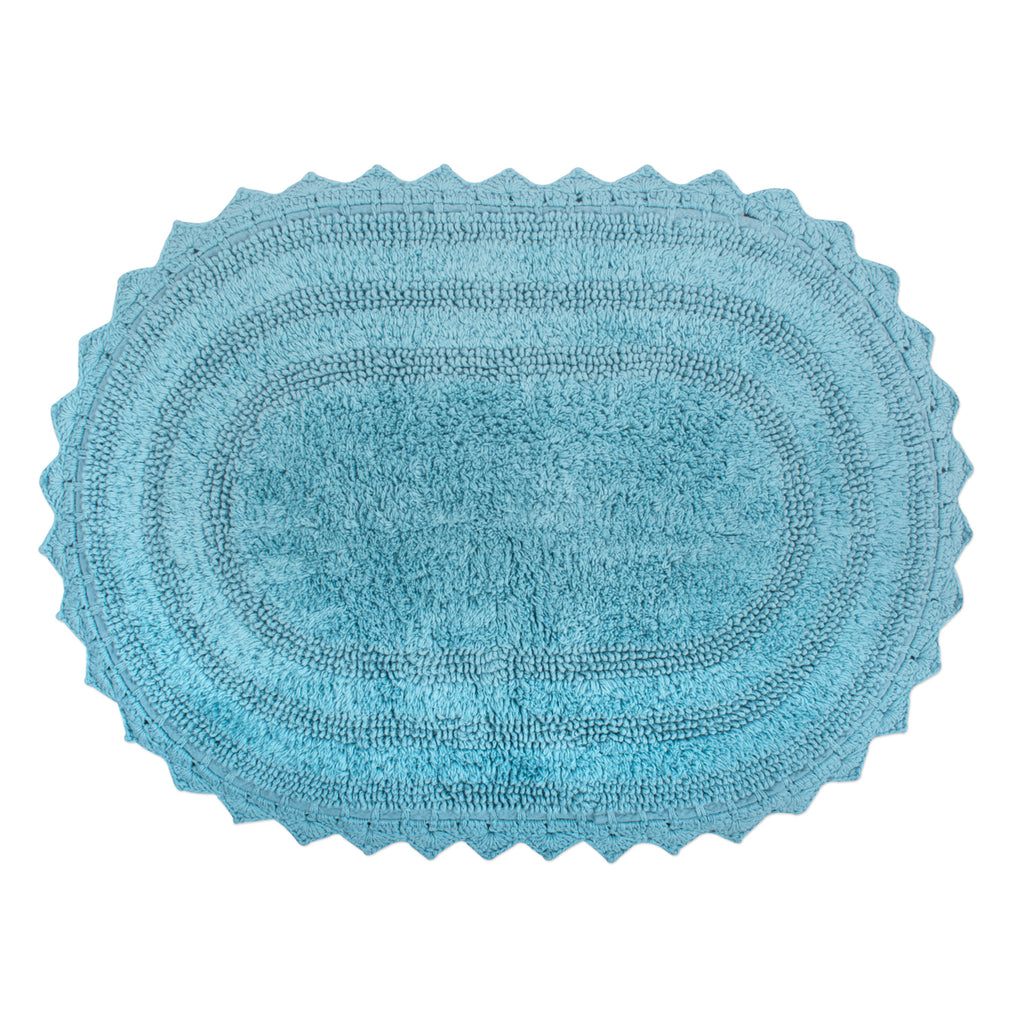 Cameo Blue Large Oval Crochet Bath Mat