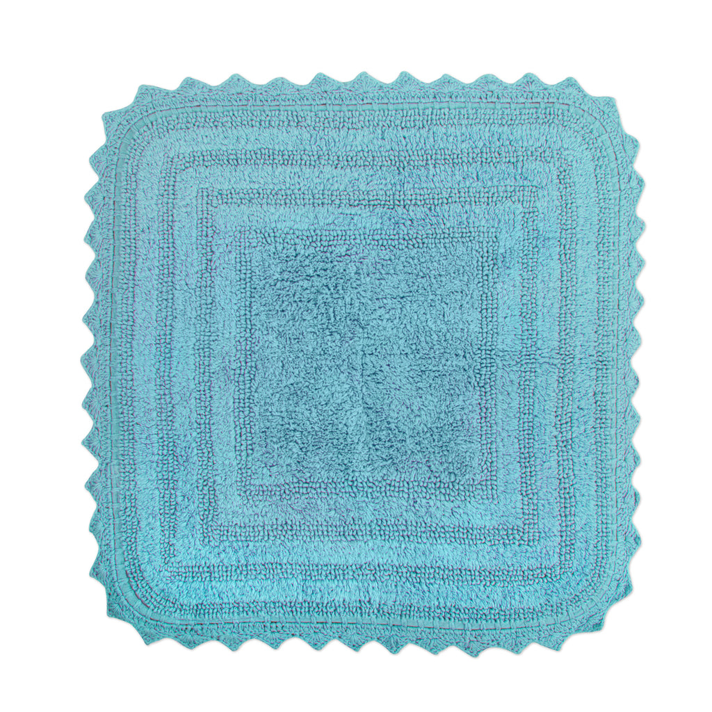 Cameo Blue Square Crochet Bath Mat