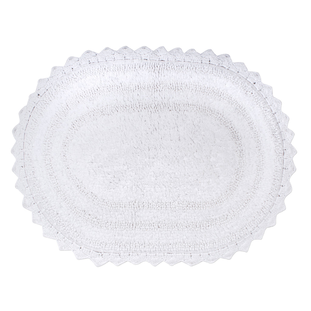 White Small Oval Crochet Bath Mat