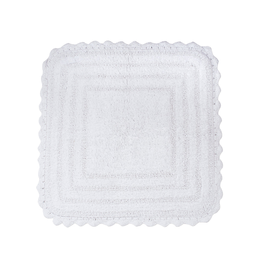 White Square Crochet Bath Mat