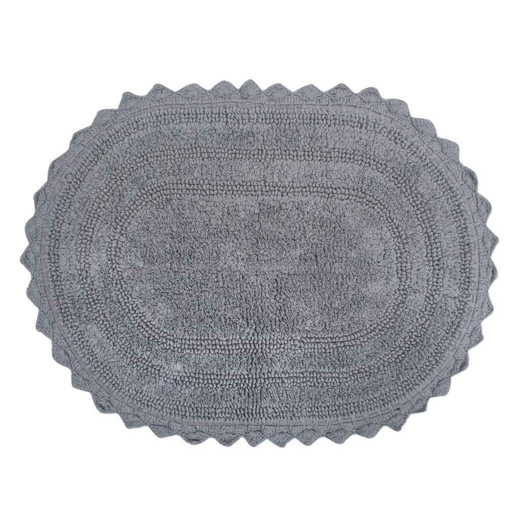 Gray Small Oval Crochet Bath Mat
