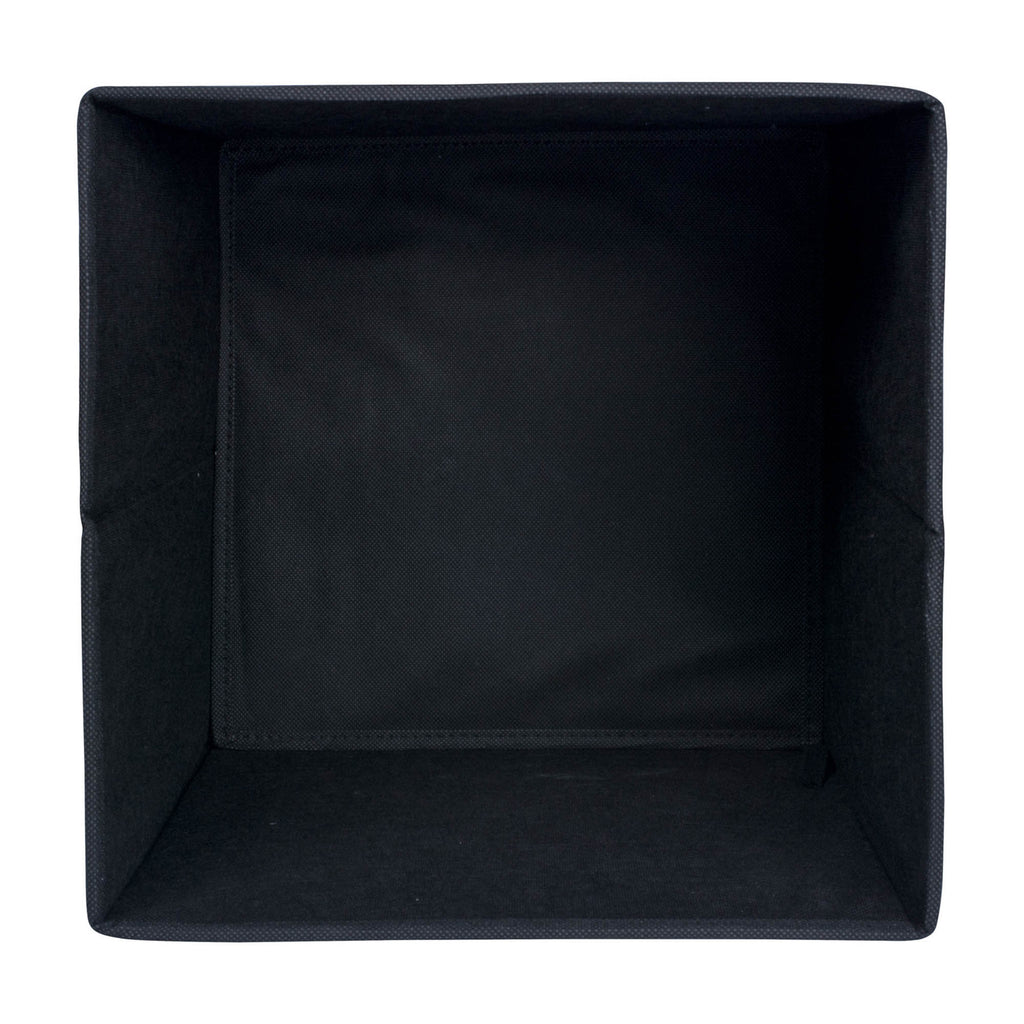DII Nonwoven Polypropylene Cube Solid Black Square (Set of 2)