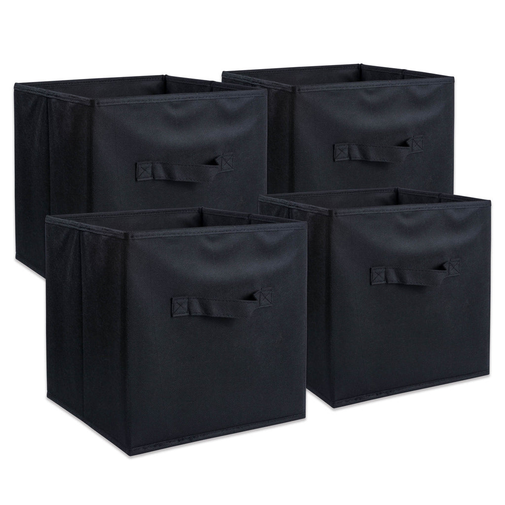 Nonwoven Pp Cube Solid Black Square 11x11x11 Set/4