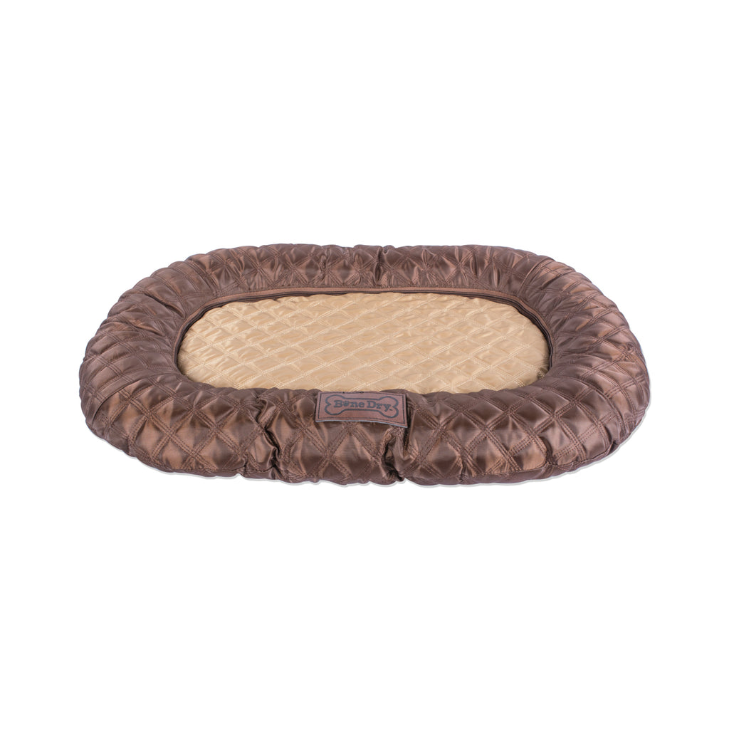 Border Cushion Quilted Brown Oval Medium 20x28