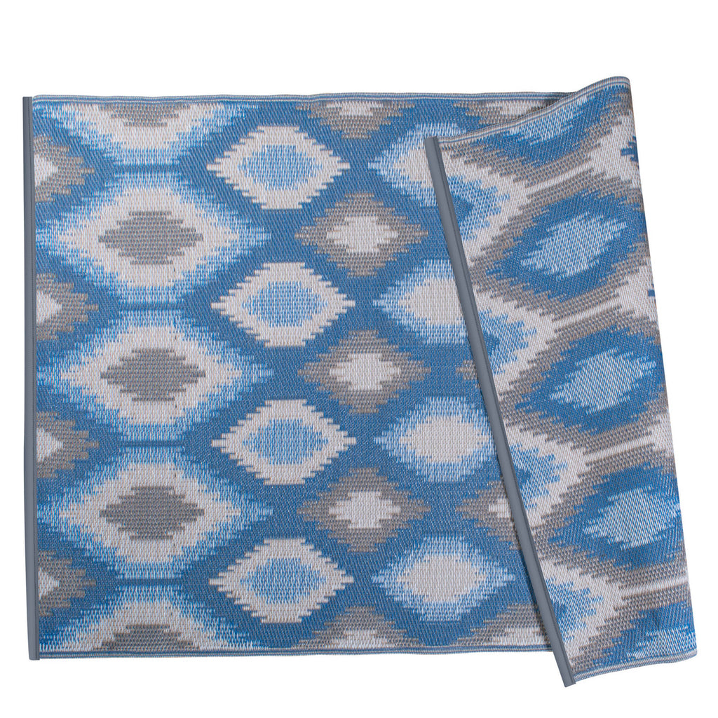 Blue Ikat Outdoor Rug 4x6 Ft